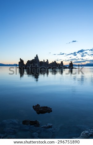 Sunrise at Mono Lake with tufa silhouettes, California
