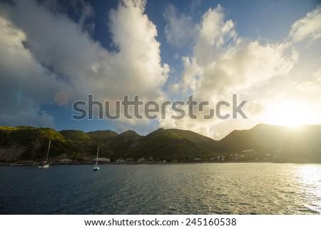 Sunrise at Montserrat, Caribbean sea - stock photo