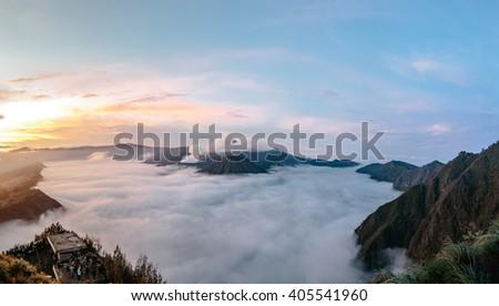 Sunrise at Mount Bromo Bromo national park, East Java, Indonesia - stock photo
