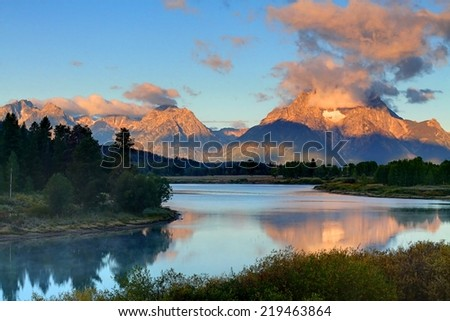 Sunrise at Oxbow Bend at Grand Teton National Park in Wyoming - stock photo