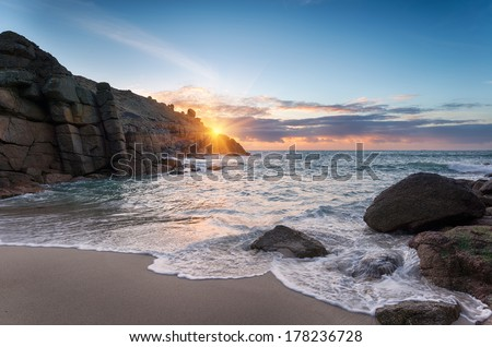 Sunrise at Porthgwarra Cove on the Lands End Peninsula in Cornwall - stock photo