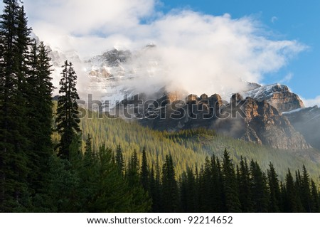 Sunrise at Rocky Mountains, Banff National Park, Alberta, Canada - stock photo