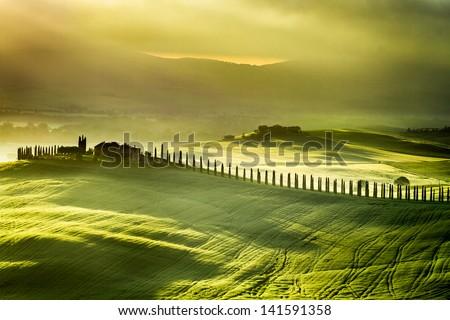 Sunrise at San Quirico d'Orcia - stock photo