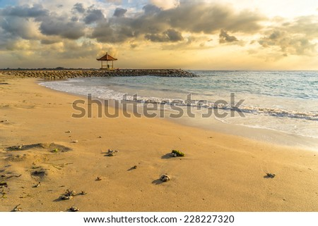 Sunrise at Sanur beach, Bali - stock photo