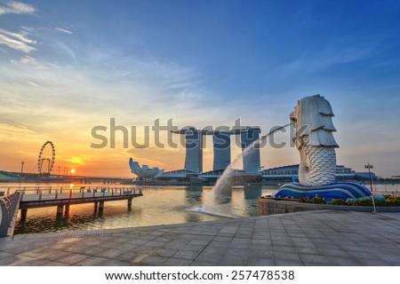 sunrise at Singapore City Skyline view at Marina Bay - stock photo