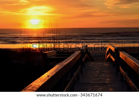 Sunrise at St. Augustine Beach Florida  - stock photo