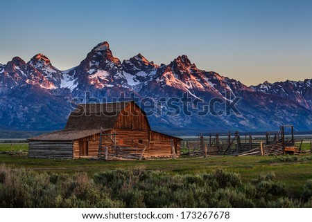 Sunrise at T.A. Moulton barn at Mormon Row, Grand Teton National Park, WY - stock photo