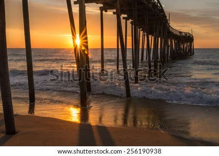 Sunrise at the Avon Pier, North Carolina - stock photo