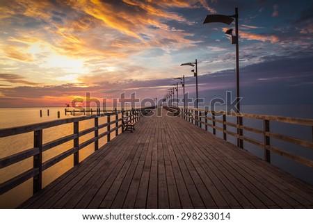 Sunrise at the beach, Machalinki Poland. Vintage sunrise landscape - stock photo