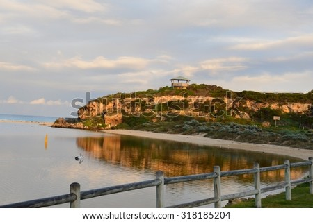 Sunrise at the beach with pelican - Moore River Estuary, Western Australia - stock photo