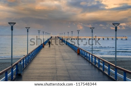 Sunrise at the famous marine pier in resort city of Palanga, Lithuania, Europe