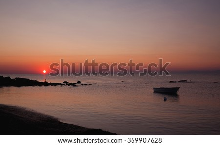 Sunrise at the mediterranean sea - stock photo