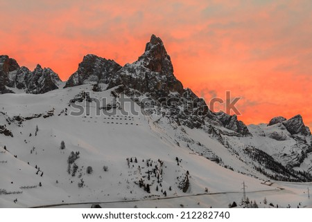 Sunrise at the Pala Group/Pale di San Martino, in winter. Trentino-Alto Adige, Italy - stock photo