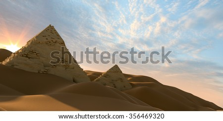 Sunrise at the pyramid - stock photo