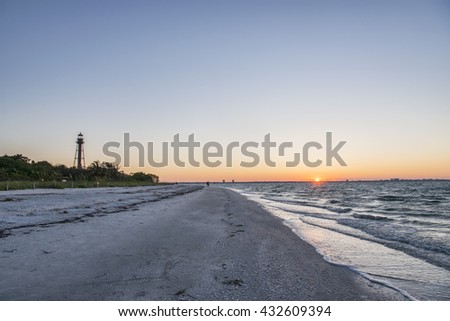 Sunrise at the Sanibel Island Lighthouse in Florida - stock photo