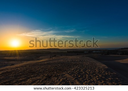 Sunrise at the white sand dunes in Mui Ne, Vietnam