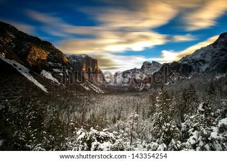 Sunrise at Tunnel view Yosemite - stock photo