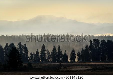 Sunrise at Yellowstone National Park - stock photo