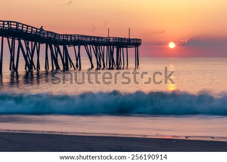 Sunrise Avon Pier Hatteras Island, NC - stock photo