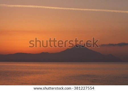 Sunrise behind Athos Mountain ( Holly Mountain )