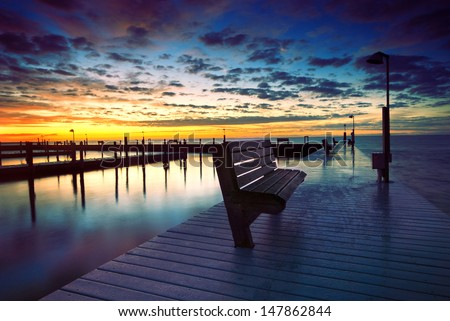Sunrise by the beach. Atlantic ocean, Summer concept - stock photo