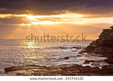 Sunrise by the beach in Sydney, NSW  - stock photo