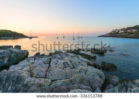 Sunrise, Cala Rajada, Mallorca, Spain - stock photo