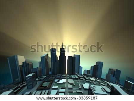 Sunrise city - stock photo