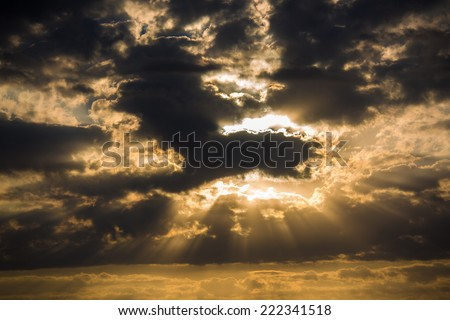 Sunrise clouds on the sky - stock photo