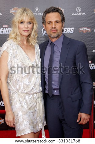 "Sunrise Coigney and Mark Ruffalo at the Los Angeles premiere of ""The Avengers"" held at the El Capitan Theater in Hollywood, USA on April 11, 2012."