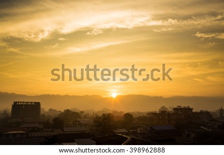 Sunrise colorful dawn morning sky background in Inle, Myanmar - stock photo