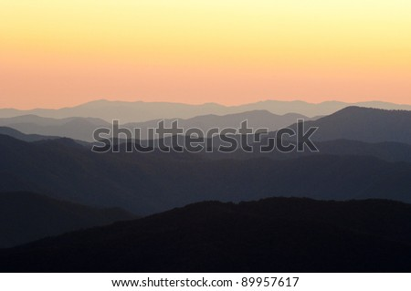 Sunrise colors and mountain tops