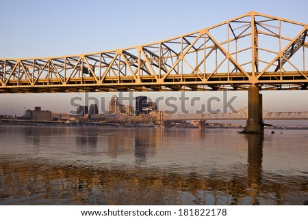 Sunrise colors on the bridge in Louisville, Kentucky - stock photo