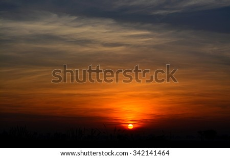Sunrise Dawn morning view landscape - stock photo