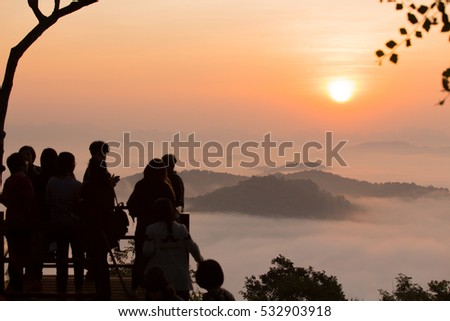 sunrise foggy view in Loei , Thailand,  tourists