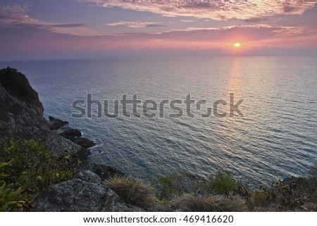Sunrise from hilltop of Rawa Island