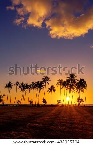 Sunrise from Kapaa beach park on the Hawaiian Island of Kauai - stock photo