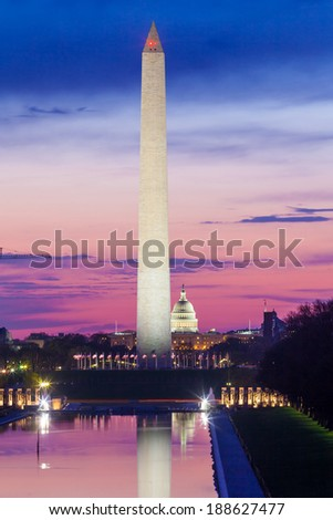 Sunrise from Lincoln Memorial with Washington Monument and the U.S. Capitol Building