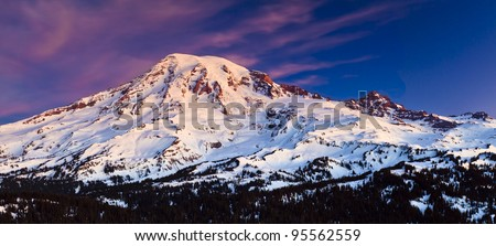 Sunrise from Mt. Rainier - stock photo