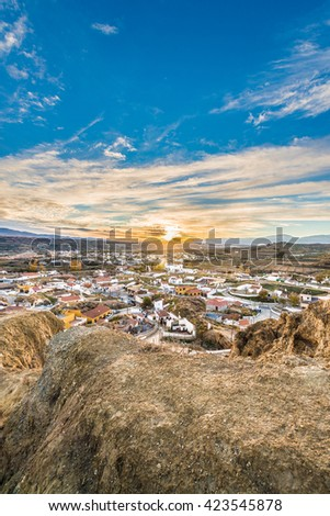 Sunrise from one of the viewpoints of Guadix in Granada, Andalusia, Spain. - stock photo