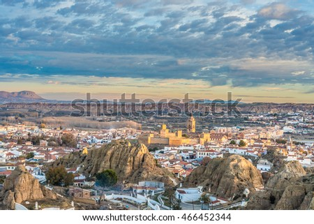 Sunrise from one of the viewpoints of Guadix in Granada, Andalusia, Spain.