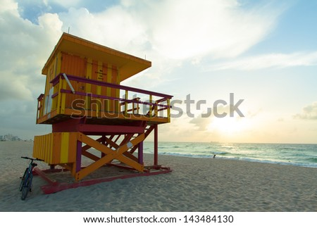 Sunrise from South Beach in Miami Florida at the start of summer. - stock photo
