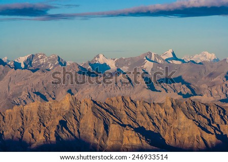 Sunrise from Stok Kangri - Magnificient view to Himalayas - stock photo