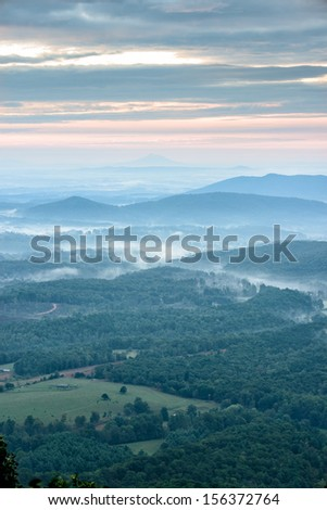 Sunrise from the Blue Ridge Parkway - stock photo