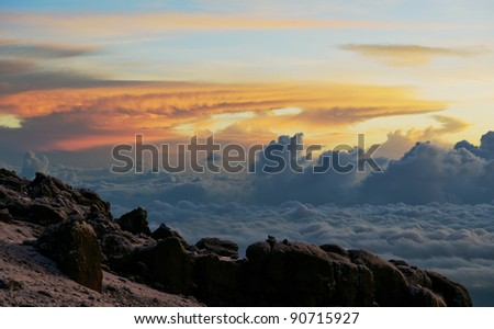 Sunrise from the slopes of Kilimanjaro - Tanzania - stock photo