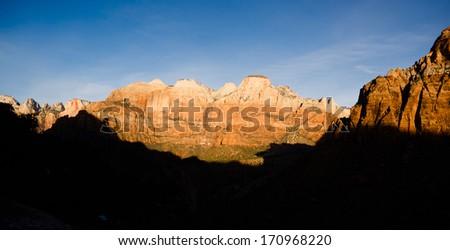 Sunrise High Mountain Buttes Zion National Park Desert Southwest - stock photo