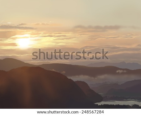 Sunrise Illustration. Illustration made from a beautiful sunrise in the Norwegian mountains