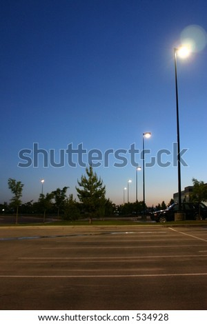 Sunrise in a Business Parking Lot - stock photo