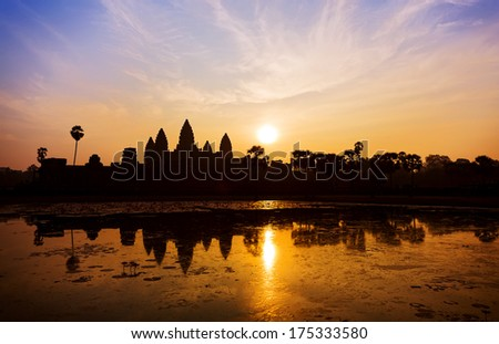 Sunrise in Angkor Wat - stock photo