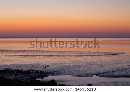 Sunrise in Atlantic - Lisbon-Portugal - stock photo